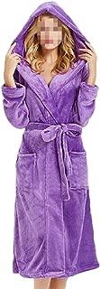 Womens Plush Fleece Robe with Hood Long Warm Solid Bathrobe Sleepwear Housecoats