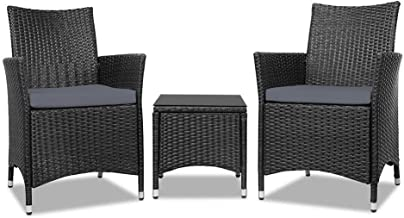 Gardeon 3 Piece Rattan Chair and Table Wicker Out Furniture Set-Black