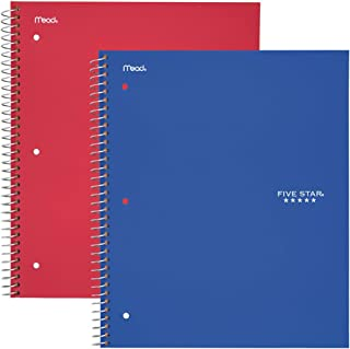 "Five Star Spiral Notebooks, 1 Subject, Wide Ruled Paper, 100 Sheets, 10-1/2"" x 8"", Blue, Red, 2 Pack (38220)"