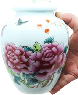 MEILINXU 6.5 Medium-Sized Cremation Urn by Funeral Urn for Human Ashes Adult and Pet Urns- Made in Ceramics & Hand-Painted...