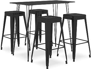 Tidyard Mesa Alta y Taburetes de Bar 5 Piezas Mesa y Sillas de Cocina Diseño Moderno Negro
