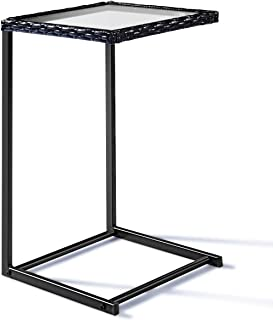 Tangkula Patio Wicker Sofa, Outdoor C-Shape Rattan, Coffee Desk Side End Table Furniture for Home Office, Steel Construction & Square Glass Top, Black