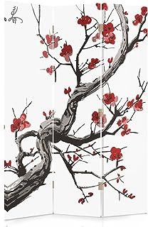 Feeby Frames Biombo Impreso sobre Lona, tabique Decorativo para Habitaciones, a una Cara, de 3 Piezas (110x150 cm), Cerezo JAPONÉS, Blanco, Rojo, Negro