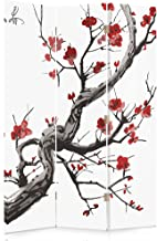 Composizione CIOTTOLI Sabbia unilaterale Zen Feeby Frames Il paravento Stampato su Telo,Il divisorio Decorativo per Locali a 3 Parti Piramide Bianco 110x150 cm