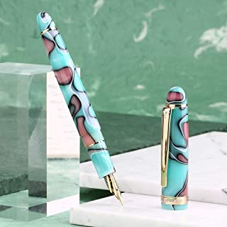 Moonman S3 Marble Blue Acrylic Fountain Pen, Iridium Fine Nib Signature Pen, Gold Trim Business Gift Writing Pen