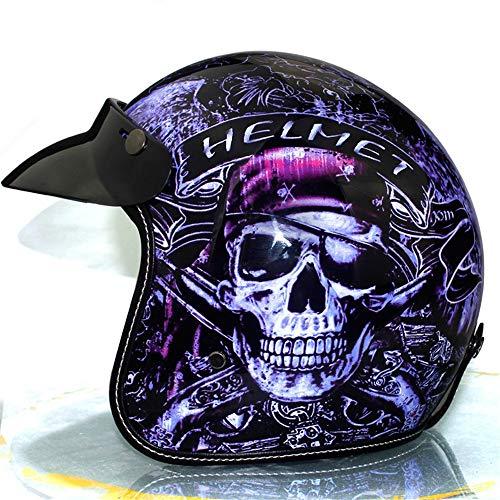 JIE KE Modèle de crâne cool Harley casque d'équitation Open Face Vintage 3/4 hors route casque de moto vélo de rue (taille : XL)