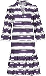 【HebeTop】 Women Sexy Deep V-Neck Short Sleeve Stripe Print Mini A Line Dress