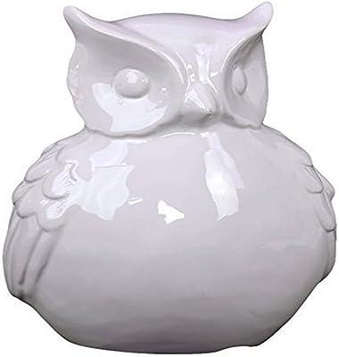 Plutus Brands Ceramic Owl with Big Beautiful & Hypnotizing Eyes, White