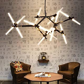 Modern Industrial Chandelier Metal Acrylic LED Branch Chandeliers Pendant Lamp Light DIY Ceiling Fixtures for Living Room Dining Room Lamps (20-Light Black)