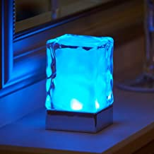 Auraglow Rechargeable Cordless Wireless Colour Changing & White Light LED Glass Table Lamp (Glacier)