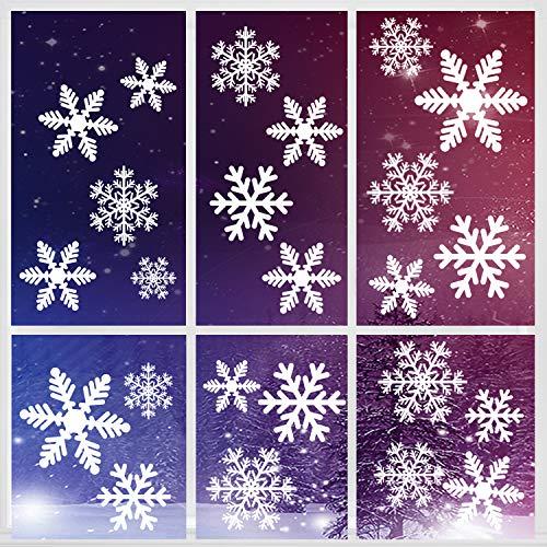 Weihnachtsdeko Fenster, 162 Schneeflocken Weihnachten Fensterbilder, Fenstersticker Fensteraufkleber PVC Fensterdeko Selbstklebend, für Türen Schaufenster Vitrinen Glasfronten Deko