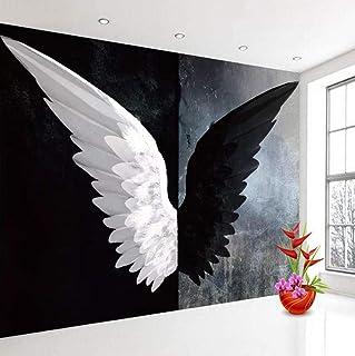 3D Mural WallpaperModerno Creativo Negro Blanco �ngel Alas Arte Pintura Mural Sala de estar Dormitorio Decoración Del Hogar 200x140 CM