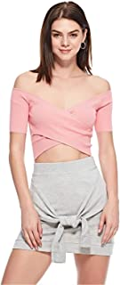 Bershka Crop Tops For Women, Pink, M
