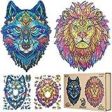 OTAKUKID® - Puzzle de madera de animales -Pack completo con 2 puzzles (León & Lobo) - Juego de puzzle para adultos y niños - Idea de regalo - 150 piezas & 150 piezas
