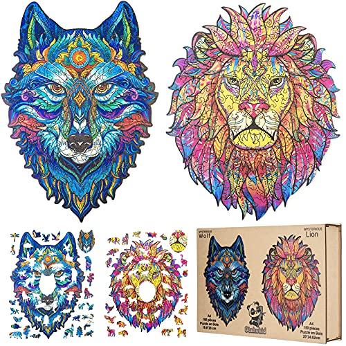 OTAKUKID® - Puzzle di animali in legno – Leone & Lupo Jigsaw Puzzles - Rompicapo / Rompicapo per adulti e bambini - Idea regalo - 150 pezzi & 150 pezzi