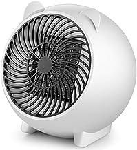 Hxsm Oscilación Automática Mini Mesa eléctrica Calentador de Ventilador Calentador de Aire rápido PTC Portátil Pequeño-Blanco