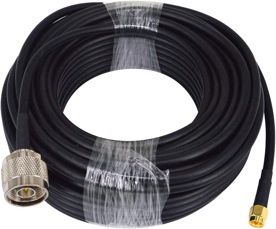 YILIANDUO RG58 Cable Adaptador coaxial de Baja pérdida de 15 m SMA Macho a N Macho Cable de extensión de Cobre Puro Cable de 50 ohmios para 3G / 4G / 5G / LTE/ADS-B/Ham/GPS/WiFi/RF Radio