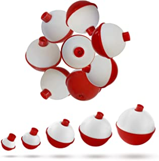 no doubt 15pcs-50pcs/lot Fishing Bobbers and Floats Set - Hard ABS Red and White Fishing Floats, Push Button Round Buoy Fl...