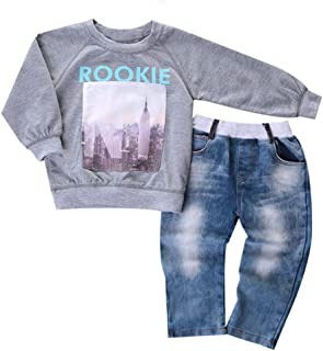 Chumhey Baby Toddler Boy Knitted Sweaters Elastic Waist Blue Jeans Pants Set