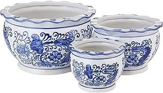 گلدان های چوبی آبی و سفید ، گلدان های گل HakkaGirL ، گلدان های تزئینی گلدان های داخلی و خارجی - مجموعه ای از 3