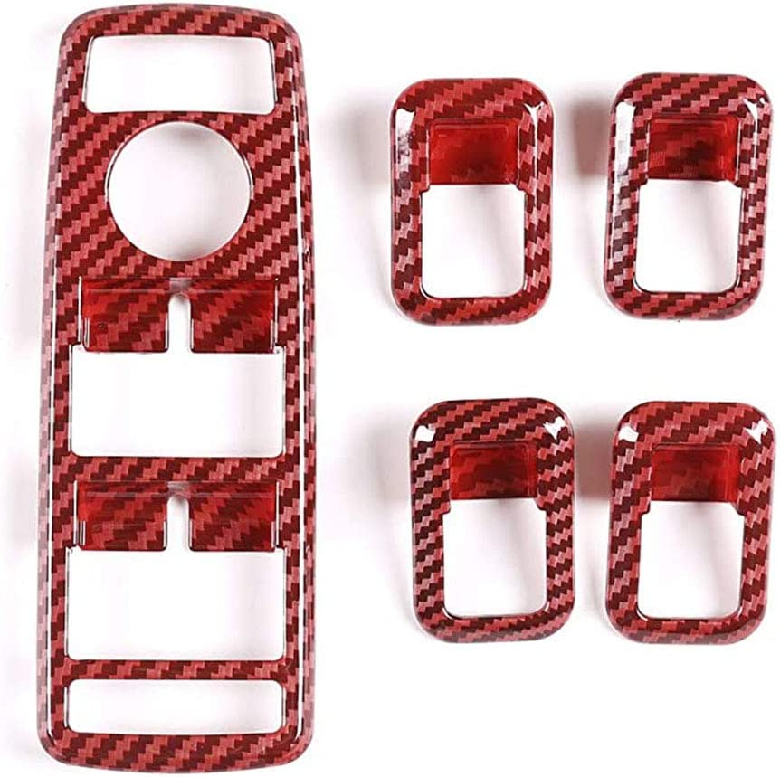 4 pi/èces MJJ Garniture de Cadre de Bouton de l/ève-vitre de Voiture en Fiber de Carbone pour A//B//C//E//GLE//GLA//CLA//GLK//Classe W176//W204//W212//W166//W218