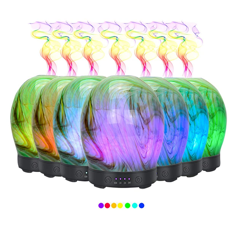 名声のスコアセットアップエッセンシャルオイル用ディフューザー (100ml)-3d アートガラスツイストツリーアロマ加湿器7色の変更 LED ライト & 4 タイマー設定、水なしオートシャットオフ