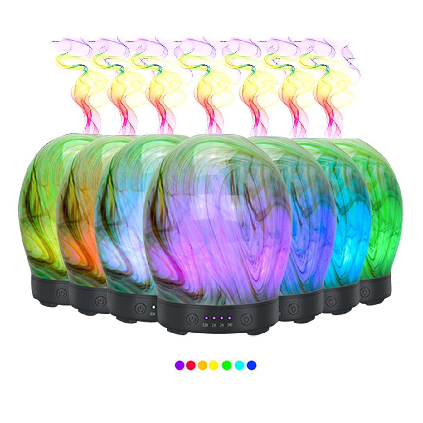 助けて掘る確かなエッセンシャルオイル用ディフューザー (100ml)-3d アートガラスツイストツリーアロマ加湿器7色の変更 LED ライト & 4 タイマー設定、水なしオートシャットオフ