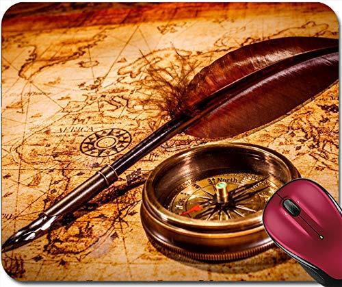 Gaming-Mauspad,Gummi-Mauspad,Genähte Kanten,Vintage-Lupe Mit Mausmatte Und Kompass Auf Einer Alten Karte 30X25CM,Maus Mausunterlage,Rutschfeste Unterseite