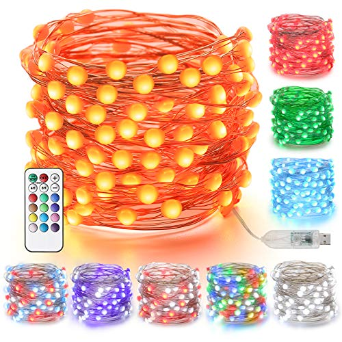 Moxled Fairy Lights 32ft 100 LED, RGB String Lights USB Powered, Multi Color Changing with Remote, LED String Lights Waterproof for Indoor, Outdoor, Bedroom, Party, Wedding, Tree, Patio Decorations