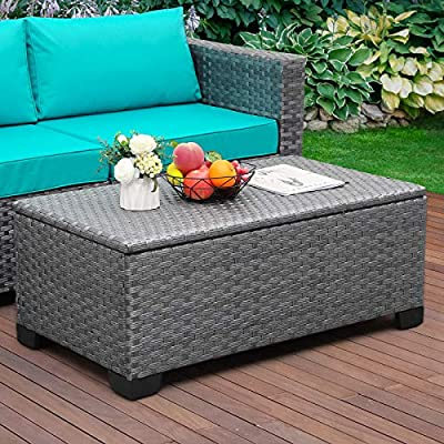Rattaner Outdoor Storage Table, Wicker Patio Coffee Table and Rattan Side Table with PP Board, Grey