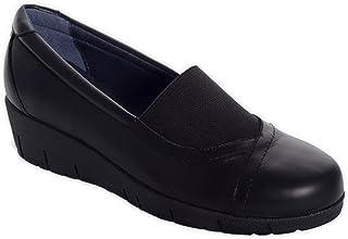 Oneflex Chaussures Orthopediques Femme antidérapant- Mod. Marie en Cuir Noir - Pointure