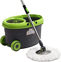 DR FUSSY 360 Degree Spin Mop & Bucket with Wheels, Splash Guard, Drain Hole, Bonus with 4 Free Mop Heads