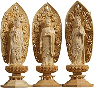 High 43cm/17inch Woodcarving Buddha Statue Large-sized Western Three Holy Buddha Statues Bless His Family Bless Yourself A...