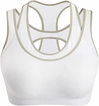 HoneyStore Women's Double Layer High Impact Wirefree Shock Absorber Sports Bra