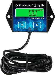Runleader backlight Tacómetro de contador de horas, recordatorio de mantenimiento, batería reemplazable, apagado del usuario, uso para cortacésped, generador de tractor, generador, equipo de gas