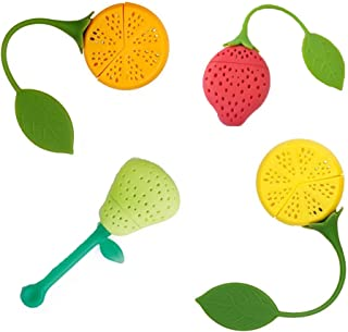 Naranqa Silicone Fruit Shape Cute Tea Bag Funny Loose Leaf Tea Infuser in Strawberry Pear Orange and Lemon Shape 4 Colorful Cool Tea Infuser Strainer for Mug Cup Herbal Weight Loss Tea-Dishwasher Safe