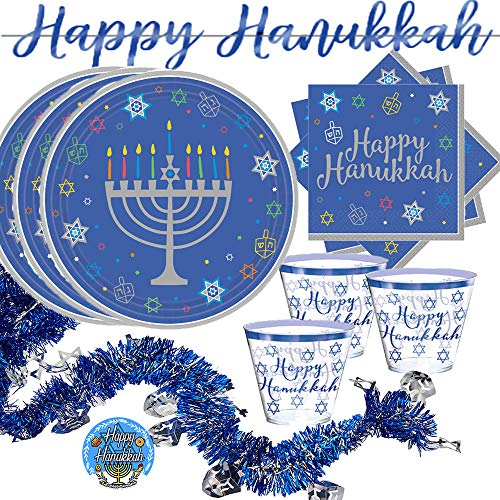 Large Hanukkah Party Supplies Pack With Decoration for 30 Guests With Menorah 36 Dinner Plates, 36 Hannukah Napkins, 30 Cups, Happy Hanukkah Banner, Garland, and Exclusive Happy Hanukkah Pin By Another Dream!
