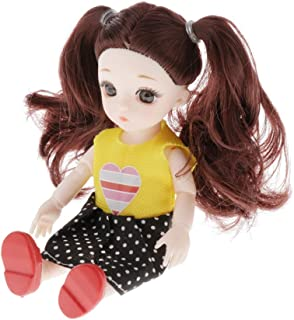 perfeclan 16cm Mini Muñecas Articuladas Realista con Pelo de Peinar Ropas Juego de rol para Niños Pequeños - A5 Cabello Rizado castaño
