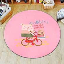 Round Cartoon Rugs Coral Velvet Balcony Table Side Foot Pad Home Door Mat Bedroom Study Cushion,2,100 * 100cm