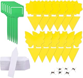 H HOME-MART 12 Pack Yellow Sticky Fruit Fly Trap and Fungus Gnat Traps Killer,Dual-Sided Gnat Trap Butterfly Flower Rectan...