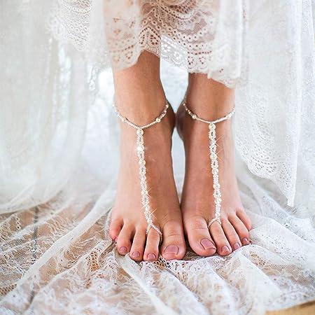 Edary Boho cavigliera con perline strass bianco braccialetto alla caviglia accessorio da sposa spiaggia gioielli piede per donne e ragazze (2 pezzi)