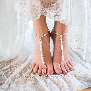 Edary Boho cavigliera con perline strass bianco braccialetto alla caviglia accessorio da sposa spiaggia gioielli piede per...