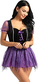 Sexy Women's Wicked Witch Halloween Costume Tulle Lace Up Spellcaster Classic Fairytale Dress