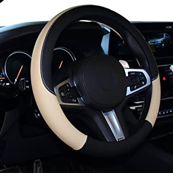 Truck Leather Car Steering Wheel Cover SUV /& Van Performance Speed Comfort Grip Auto Interior Access Black Beige Soft Padding Durable,Anti-Slip Universal Size Fit 14.5-15.5 Steering Cover Car
