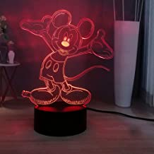 Cartoon 3D Illusion Lamp Naughty Mickey Mouse 3D Creative LED Night Light Cute Children Bedroom Decor Light Kids Read Lamp Baby Sleeping Lamp Holiday Atmosphere Light Child Christmas Gift