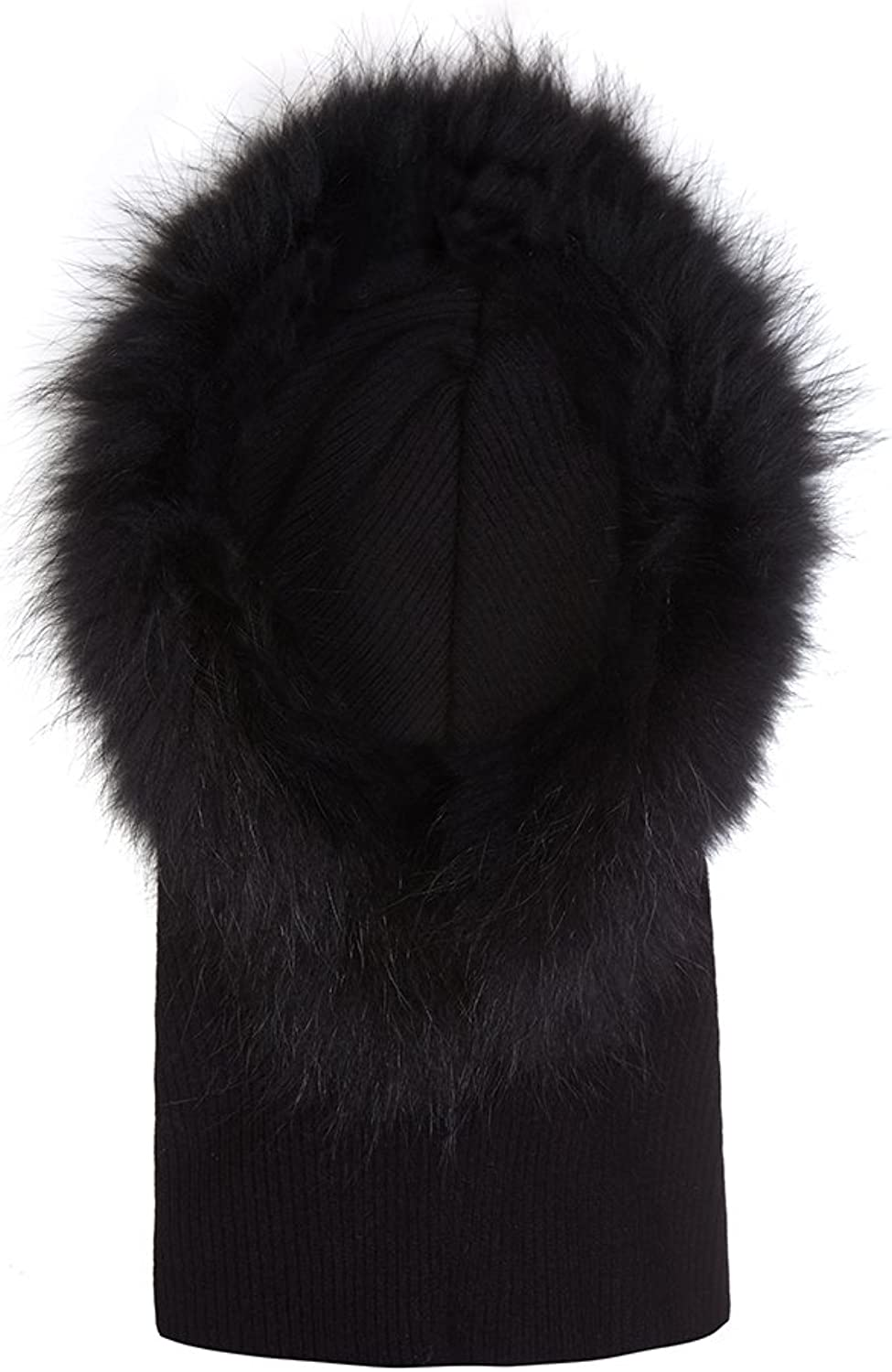 Cashmere Hooded Scarf with Fur