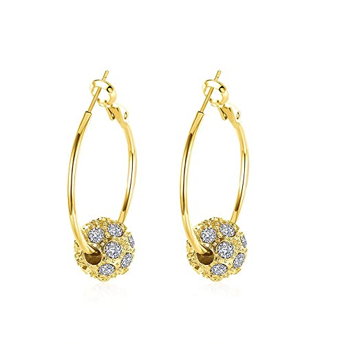 00a13766f40c FJYOURIA Ladies Diamond Crystal Ball Drop Circle Earrings Women Rose Gold Sliver  Round Shaped Hoop