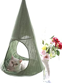 ALXDR Cat Hammock Hanging Type Kitten Bed Detachable Pet Linen Sling Attic Multi-useage Breathable Loft for Summer Living