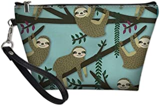 Sannovo Funny Sloth Makeup Bag Cosmetic Case for Women Small Leather Ladies Travel Wash Toiletry Bag