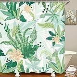 LIVILAN Grünes Blatt Duschvorhang, Sommer-Dschungelpflanze, Badezimmervorhänge-Set mit Haken, florales Badezimmer-Dekor, 183 x 183 cm, maschinenwaschbar